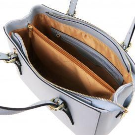 イタリア製AURA ルーガ・カーフレザーの2WAYハンドバッグ、ライトブルー、水色、スカイブルー、パウダーブルー、ベビーブルー、詳細3