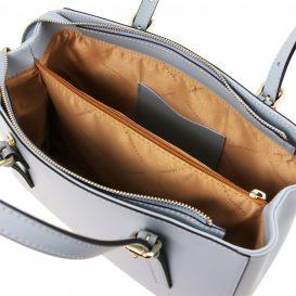 イタリア製AURA ルーガ・カーフレザーの2WAYハンドバッグ、ライトブルー、水色、スカイブルー、パウダーブルー、ベビーブルー、詳細4