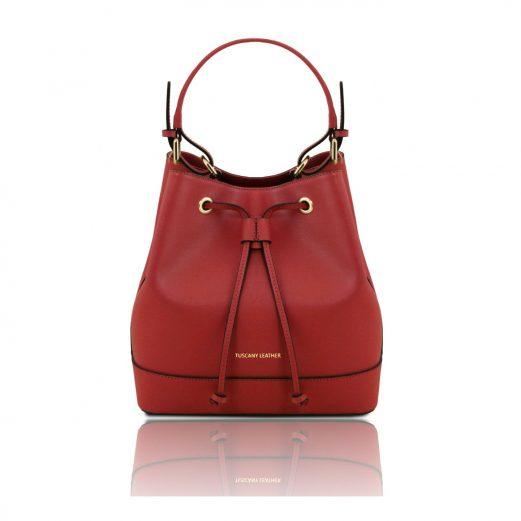 イタリア製サフィアーノレザー2WAY巾着バッグ MINERVA、レッド
