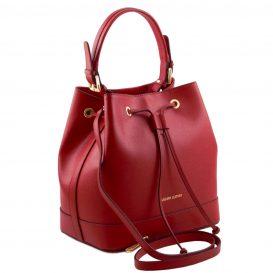 イタリア製サフィアーノレザー2WAY巾着バッグ MINERVA、レッド、詳細1
