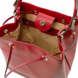 イタリア製サフィアーノレザー2WAY巾着バッグ MINERVA、レッド、詳細3