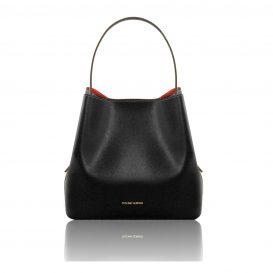イタリア製サフィアーノレザーのポーチ付きハンドバッグ、黒、ブラック