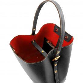 イタリア製サフィアーノレザーのポーチ付きハンドバッグ、黒、ブラック、詳細1