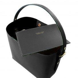 イタリア製サフィアーノレザーのポーチ付きハンドバッグ、黒、ブラック、詳細2