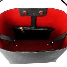 イタリア製サフィアーノレザーのポーチ付きハンドバッグ、黒、ブラック、詳細3