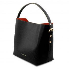 イタリア製サフィアーノレザーのポーチ付きハンドバッグ、黒、ブラック、詳細4