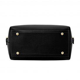 イタリア製サフィアーノレザーのポーチ付きハンドバッグ、黒、ブラック、詳細5