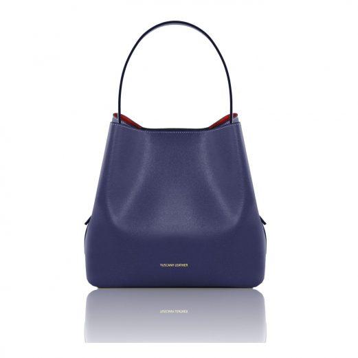 イタリア製サフィアーノレザーのポーチ付きハンドバッグ、ダークブルー、ネイビー、青