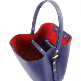 イタリア製サフィアーノレザーのポーチ付きハンドバッグ、ダークブルー、ネイビー、青、詳細1