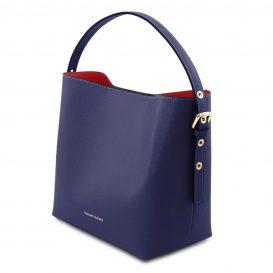 イタリア製サフィアーノレザーのポーチ付きハンドバッグ、ダークブルー、ネイビー、青、詳細2