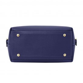 イタリア製サフィアーノレザーのポーチ付きハンドバッグ、ダークブルー、ネイビー、青、詳細3