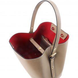 イタリア製サフィアーノレザーのポーチ付きハンドバッグ、ダークトープ、トープ、ベージュグレー、グレージュ、詳細1