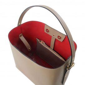 イタリア製サフィアーノレザーのポーチ付きハンドバッグ、ダークトープ、トープ、ベージュグレー、グレージュ、詳細2