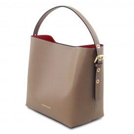 イタリア製サフィアーノレザーのポーチ付きハンドバッグ、ダークトープ、トープ、ベージュグレー、グレージュ、詳細5