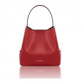イタリア製サフィアーノレザーのポーチ付きハンドバッグ、レッド、赤