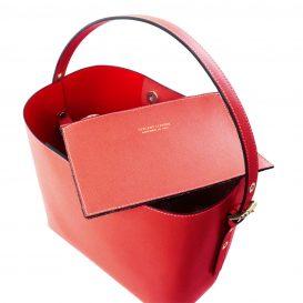 イタリア製サフィアーノレザーのポーチ付きハンドバッグ、レッド、赤、詳細1