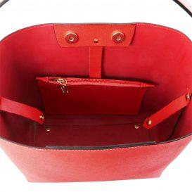 イタリア製サフィアーノレザーのポーチ付きハンドバッグ、レッド、赤、詳細2
