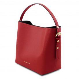 イタリア製サフィアーノレザーのポーチ付きハンドバッグ、レッド、赤、詳細3