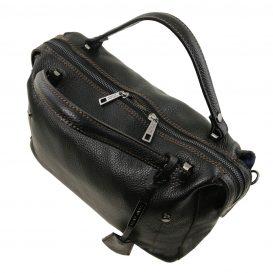 イタリア製シボ加工柔らかいカーフレザーの2WAYハンドバッグ・ショルダーバッグ、黒、ブラック、詳細1