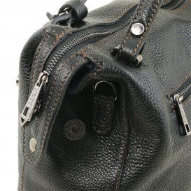 イタリア製シボ加工柔らかいカーフレザーの2WAYハンドバッグ・ショルダーバッグ、黒、ブラック、詳細2