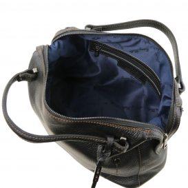 イタリア製シボ加工柔らかいカーフレザーの2WAYハンドバッグ・ショルダーバッグ、黒、ブラック、詳細3