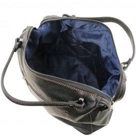 イタリア製シボ加工柔らかいカーフレザーの2WAYハンドバッグ・ショルダーバッグ、黒、ブラック、詳細4
