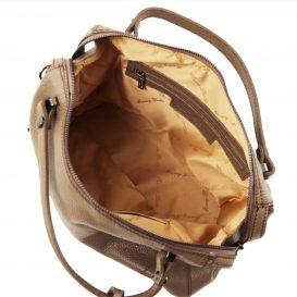 イタリア製シボ加工柔らかいカーフレザーの2WAYハンドバッグ・ショルダーバッグ、ダークトープ、トープ、ベージュグレイ、グレージュ、詳細3