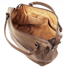 イタリア製シボ加工柔らかいカーフレザーの2WAYハンドバッグ・ショルダーバッグ、ダークトープ、トープ、ベージュグレイ、グレージュ、詳細4