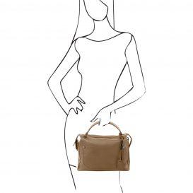 イタリア製シボ加工柔らかいカーフレザーの2WAYハンドバッグ・ショルダーバッグ、ダークトープ、トープ、ベージュグレイ、グレージュ、詳細5