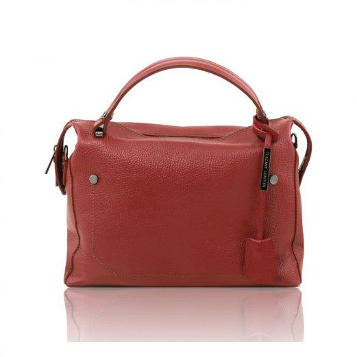 イタリア製シボ加工柔らかいカーフレザーの2WAYハンドバッグ・ショルダーバッグ、レッド、赤