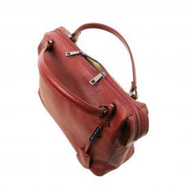 イタリア製シボ加工柔らかいカーフレザーの2WAYハンドバッグ・ショルダーバッグ、レッド、赤、詳細1