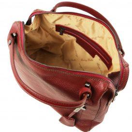 イタリア製シボ加工柔らかいカーフレザーの2WAYハンドバッグ・ショルダーバッグ、レッド、赤、詳細3