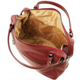 イタリア製シボ加工柔らかいカーフレザーの2WAYハンドバッグ・ショルダーバッグ、レッド、赤、詳細4