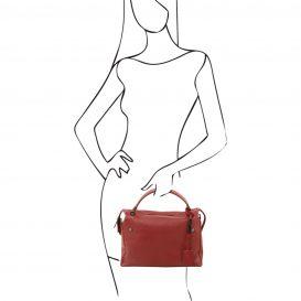 イタリア製シボ加工柔らかいカーフレザーの2WAYハンドバッグ・ショルダーバッグ、レッド、赤、詳細6