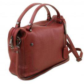 イタリア製シボ加工柔らかいカーフレザーの2WAYハンドバッグ・ショルダーバッグ、レッド、赤、詳細7
