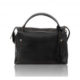 イタリア製シボ加工柔らかいカーフレザーの2WAYハンドバッグTL BAG、ブラック、黒