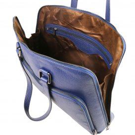 イタリア製シボ加工カーフレザーの2WAYビジネスバッグ(モジュール対応) LUCCA、ダークブルー、詳細2