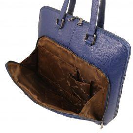 イタリア製シボ加工カーフレザーの2WAYビジネスバッグ(モジュール対応) LUCCA、ダークブルー、詳細4