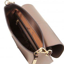 イタリア製NAUSICA メタリック・カーフレザーの2WAYバッグ、ブロンズ、バッグ詳細