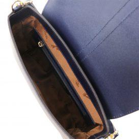 イタリア製NAUSICA メタリック・カーフレザーの2WAYバッグ、ダークブルー、ブルー詳細