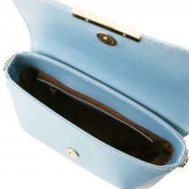 イタリア製カーフレザーの2WAYポシェット・クラッチTL BAG 、ライトブルー、水色、パステルブルー、詳細3