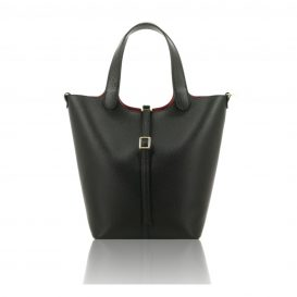 Black Shoulder Bag With Detachable Inside Compartment