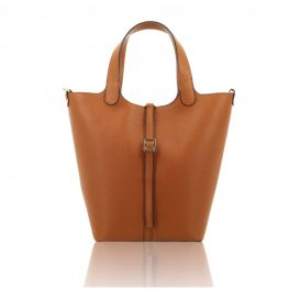 Cognac Shoulder Bag With Detachable Inside Compartment
