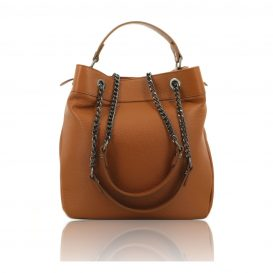 Cognac Shoulder Bag With Chain Strap