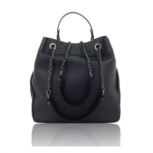 Dark Blue Shoulder Bag With Chain Strap