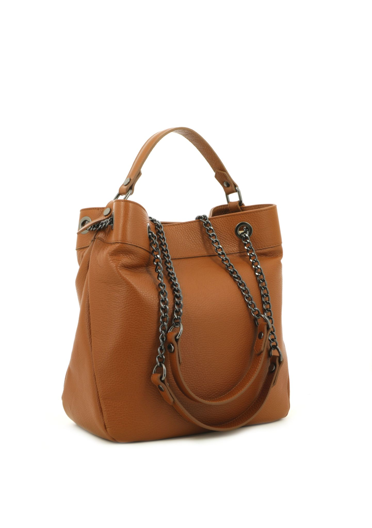 Cognac Shoulder Bag With Chain Strap 033 detail 1