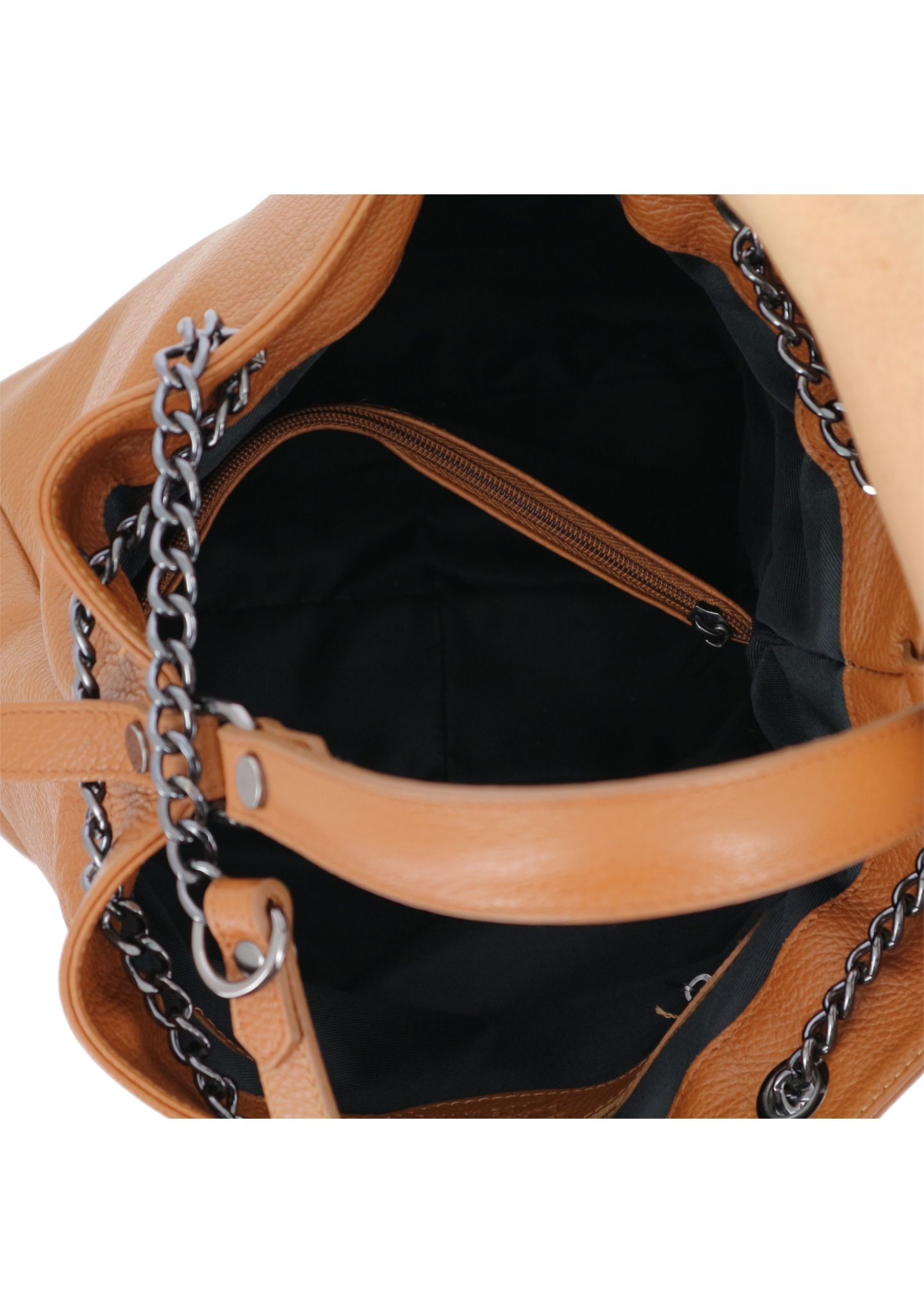 Cognac Shoulder Bag With Chain Strap 033 detail 6