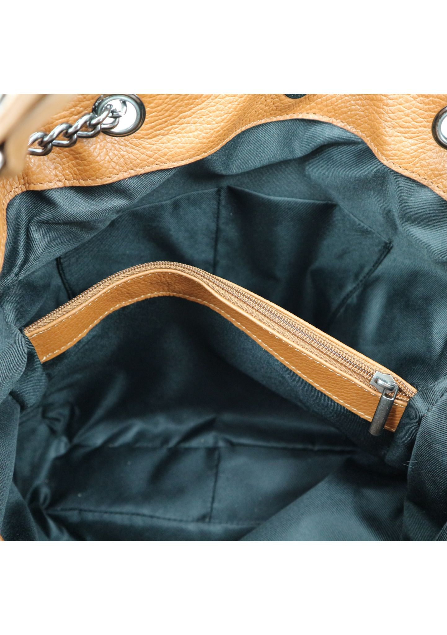 Cognac Shoulder Bag With Chain Strap 033 detail 7