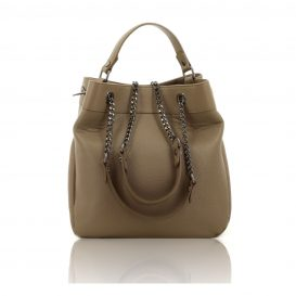 Light Taupe Shoulder Bag With Chain Strap