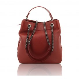 Red Shoulder Bag With Chain Strap